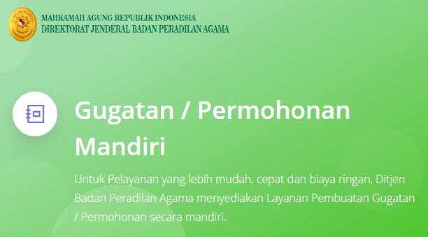 APLIKASI GUGATAN / PERMOHONAN MANDIRI